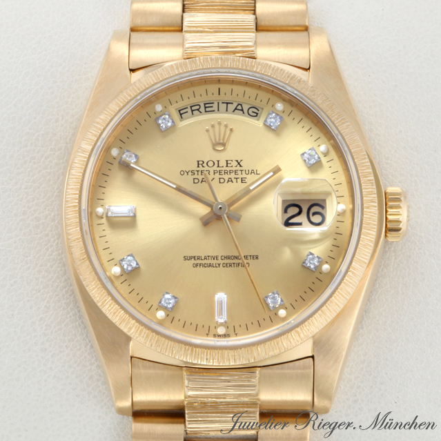 rolex uhr day date gold 750 diamanten herren armbanduhr. Black Bedroom Furniture Sets. Home Design Ideas