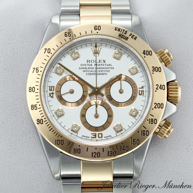 Rolex Uhr Daytona Chronograph Diamanten Stahl Gold Herrenuhr On