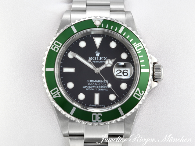 rolex uhr submariner stahl 16610 lv gruen herren. Black Bedroom Furniture Sets. Home Design Ideas