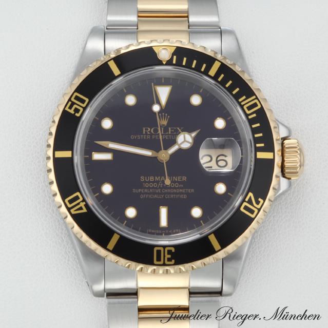 rolex submariner date 16613 stahl gold automatik taucheruhr armbanduhr herrenuhr ebay. Black Bedroom Furniture Sets. Home Design Ideas