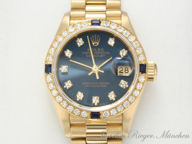 edel rolex lady date just gold 750 diamanten safir ebay. Black Bedroom Furniture Sets. Home Design Ideas