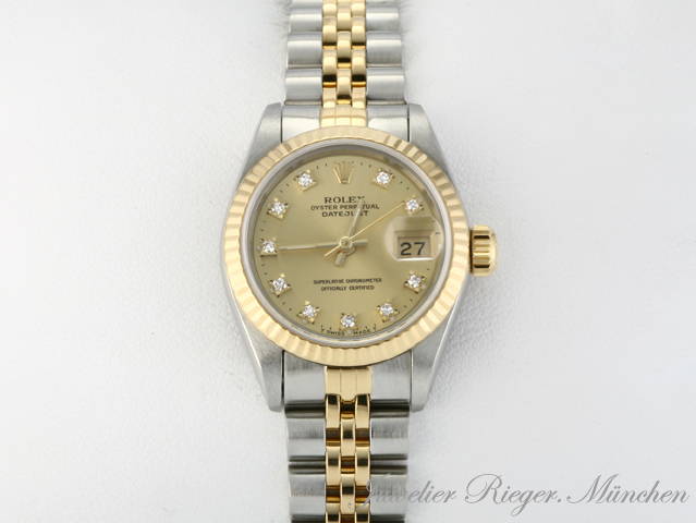 rolex lady date just stahl gold 750 diamanten ebay. Black Bedroom Furniture Sets. Home Design Ideas
