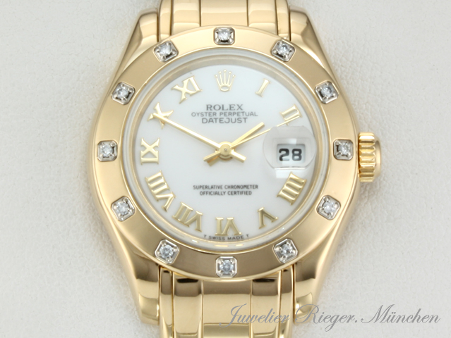rolex uhr pearlmaster date just gold 750 diamanten damenuhr armbanduhr ebay. Black Bedroom Furniture Sets. Home Design Ideas