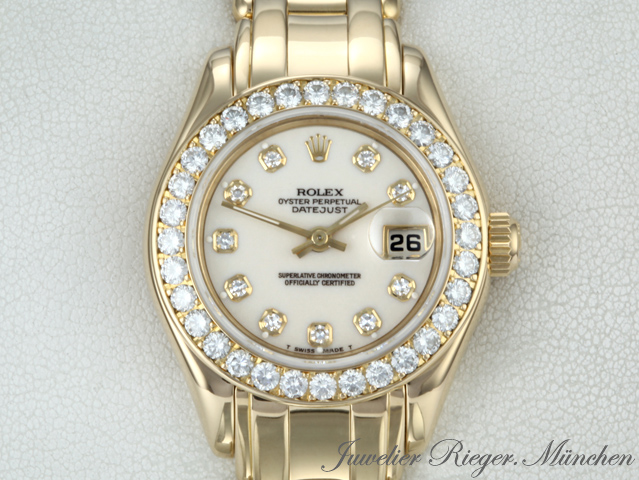 rolex uhr pearlmaster gold 750 brillant diamant datejust ref 80298 damen ebay. Black Bedroom Furniture Sets. Home Design Ideas
