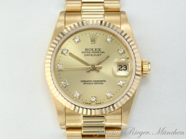 rolex uhr date just medium gold 750 datejust diamanten ebay. Black Bedroom Furniture Sets. Home Design Ideas