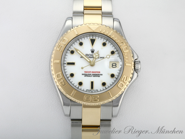 rolex uhr yachtmaster medium gold 750 stahl 35mm armbanduhr damen ebay. Black Bedroom Furniture Sets. Home Design Ideas