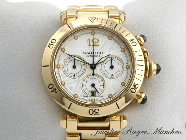top cartier pasha chronograph gold herren uhr 38mm ebay. Black Bedroom Furniture Sets. Home Design Ideas