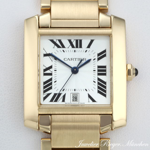 cartier uhr tank francaise gelb gold 750 automatik herren armbanduhr herrenuhr ebay. Black Bedroom Furniture Sets. Home Design Ideas